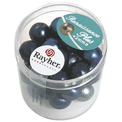 Rayher 14437000 renaissance glaswachsperlen 10 mm 32 pièces avec groàŸloch bleu mélangé