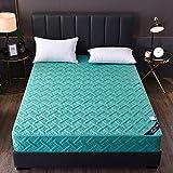 HPPSLT colchón Acolchado, antialérgico antiácaros, Sábana de Cama Pure Color Todo Incluido Hotel-Tea Green_150 * 200cm