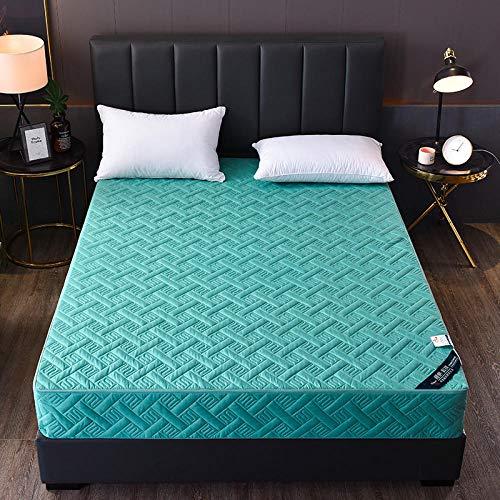 HPPSLT colchón Acolchado, antialérgico antiácaros, Sábana de Cama Pure Color Todo Incluido Hotel-Tea Green_120 * 200cm