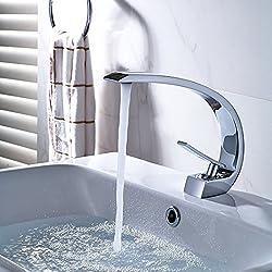Fapully Mischbatterie Wasserhahn Badarmatur Waschbecken Bad Waschtisch Einhebelmischer Waschtischarmatur Armatur Badezimmer Chrom