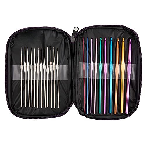 22Pcs Crochet Hooks Set, BetyBedy Aluminum Handle Knitting Needles, Multicolor Crochet Needles for Yarn Craft, 0.6~6.5mm