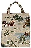 Stofftasche Einkaufstasche Motiv Winter Szene 40 x 32 cm groß im Gobelin Stil Royaltex Signare Bag...