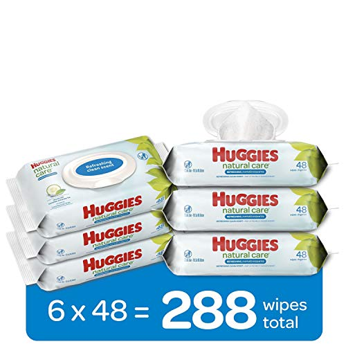 Huggies Natural Care Refreshing Baby Wipes, Scented, 6 Flip-Top Packs (288 Wipes Total)