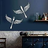 Calcomanías de vinilo para pared, vajilla, alas, cocina, restaurante, comedor, decoración, pegatinas, ventana, vidrio, cuchillo y tenedor, mural