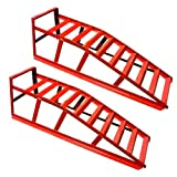 Rhyas Heavy Duty Car Ramps 2 Ton Metal Stands Pair 10 Rungs