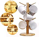 DumanAsen - Soporte para tazas de bambú con 6 ganchos