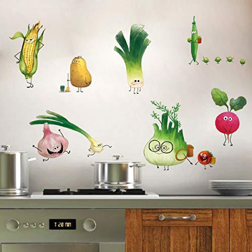 ufengke Wandtattoo Cartoon Gemüse Küche Wandaufkleber Wandsticker Karotte Zwiebel für Esszimmer Schrank Kühlschrank