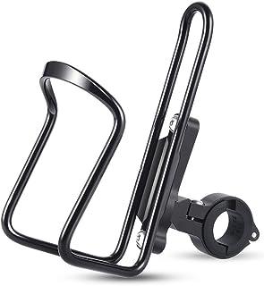 ドリンクホルダー 自転車 2 in 1(ボトルケージ+ベース)サイクルボトルケージ オートバイ 釣り傘 ベビーカー 角度調節可能 アルミ合金 取り付け工具と固定用マジックテープ付き ブラック