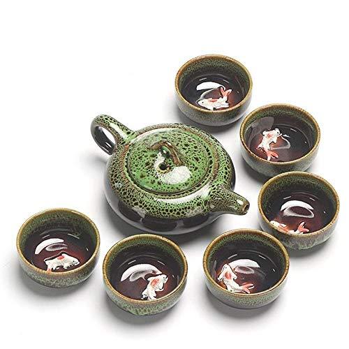 LJQLXJ Juego de té Juego de té de Kung Fu, tetera decerámica, patrón de pez retro, taza de té, porcelana, verde, vajilla tradicional, verde