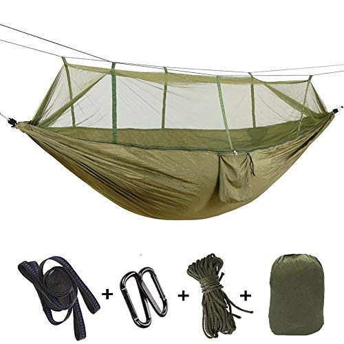 MultifunctionDoubleOutdoor Tent with Storage Bag + Strap,300kg Load Capacity (260x140cm) Army Green Camping Tarp for Indoor, Outdoor, Hiking, Camping, Backpacking, Travel, Backyard