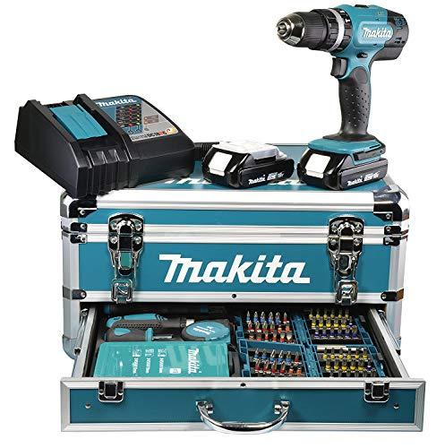 Makita Akku-Schlagbohrschrauber 2 x 18V 3Ah, im Alukoffer inkl. 96-tlg. Zubehörset DHP453RFX2