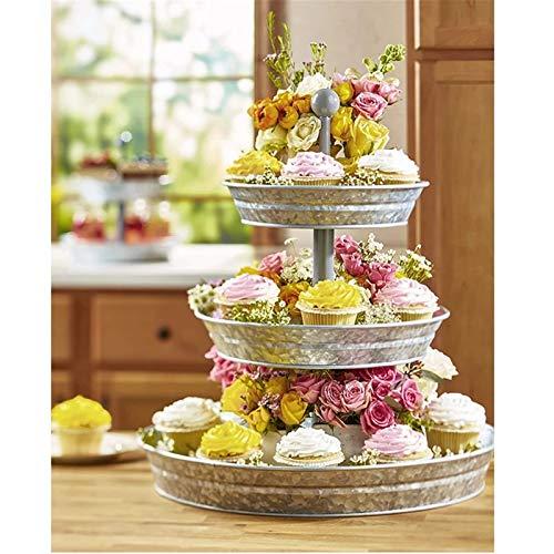 Puesto de pasteles Metal 3 niveles de la bandeja de la bandeja de la bandeja de la torta del postre de la magdalena de la fruta de la fruta de la fruta de la fruta retro decorada la fiesta de la fiest