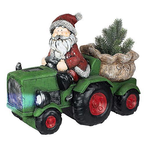 Formano Kerstman met tractor en LED-koplamp, 42 cm, rood-groen