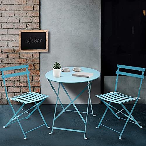 tavolo pieghevole h90 Amagabeli Set da Bistrot 1 Tavolo tavolino(H90 x D60cm) e 2 Sedie (H83 x W42 x D38cm) arredi da Balcone in Pieghevole Giardino Veranda e terrazza Set di Arredamento per Esterni in antiruggine Azzurro