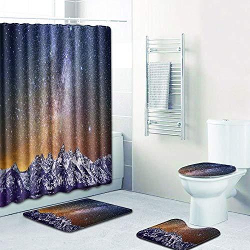 WANJIA Rutschfestes Badezimmer-Set, Duschvorhang + Badematte + U-förmige Badematte + WC-Abdeckung 4 Kombinationen+12 Haken für Duschvorhänge. 45 * 75cm W180619-D015