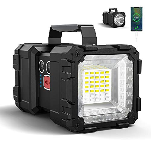 Bright Rechargeable Flashlight,JODK Portable Handheld Spotlight Searchlight 10000mAh 1200LM with 3+4 LED Lights Modes, High Lumen Waterproof Flashlight Portable with USB Output Power Bank for Outdoor