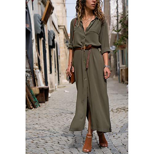 CHENGBEI Damen Maxi-Blusenkleid mit langen Ärmeln, mit Revers und seitlichem Schlitz
