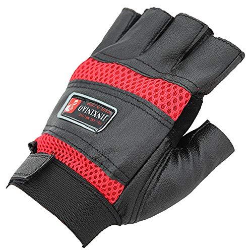 Hinyyee Respirable Secado rápido Antideslizante Medio Dedo Guantes para Ciclismo Entrenamiento Carreras Silla de Ruedas Unisexo (Color : Rojo, Size : Gratis)