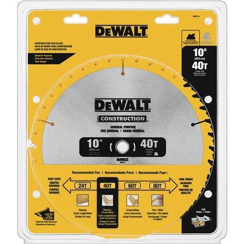 DEWALT 10-Inch Miter / Table Saw Blade, ATB, Thin Kerf, 5/8-Inch Arbor, 40-Tooth (DW3114)