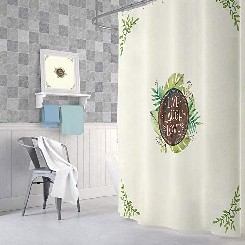 """Farmhouse Green Shower Curtains for Bathroom, Rustic Quote Live Laugh Love Country Cabin Tropical Leaves Fabric Shower Curtain Set, Bathroom Accessories Decor, Hooks Included (69"""" W X 72"""" H)"""