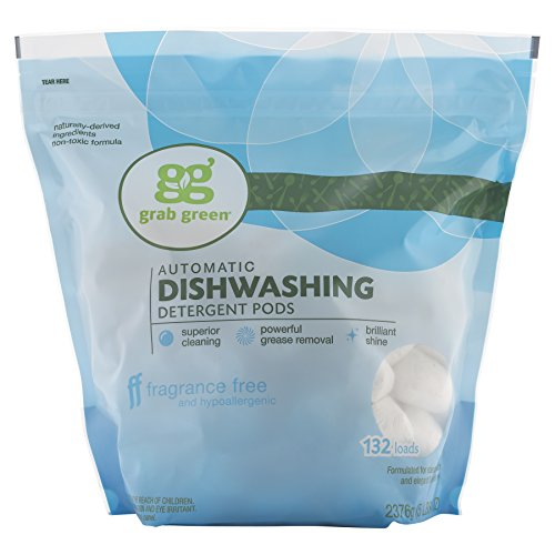 Grab Green Natural Dishwasher Detergent Pods, Free & Clear/Unscented, Fragrance Free, Organic Enzyme-Powered, Plant & Mineral-Based, 132 Count (Pack of 1)