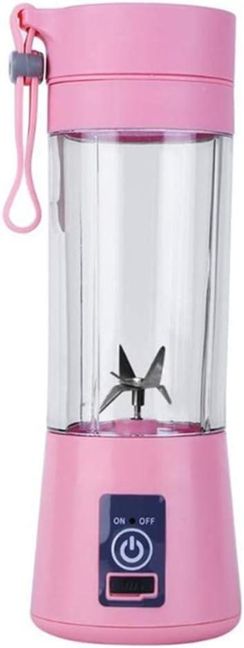 DKHF Juicer Extracteur de Presse-Agrumes Portable Juicer 2/4/6 Lame de Lait de Poche Bouteille de Lait électrique Pink B