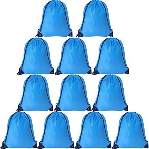 24PCS Drawstring Bags Bulk Drawstring Backpack String Bags Sack Pack Cinch Tote Sport Storage Polyester Bag for Gym Sport Trip (Blue)