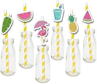 Zomer Vakantie Thema Flamingo stro Watermeloen Papier Rietjes Kids Verjaardag Feest Festival Decoraties Levert Baby Douche...