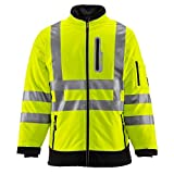 RefrigiWear HiVis Extreme Softshell Jacket - ANSI Class 3 High Visibility Lime with Reflective Tape