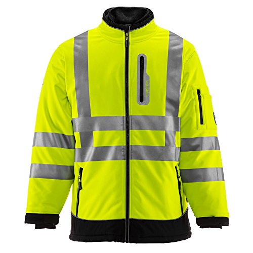 RefrigiWear HiVis Extreme Softshell Jacket - ANSI Class 3 High Visibility Lime with Reflective Tape (Black/Lime, Large)