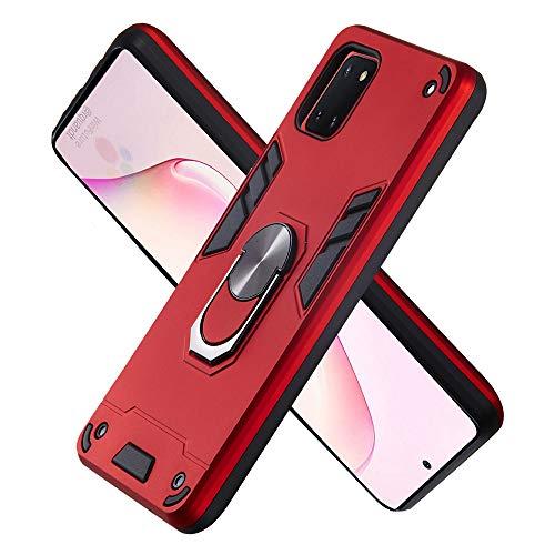 FAWUMAN Armure Coque Samsung Galaxy A81, Boîtier PC + TPU Double Layer Housse résistant aux Chocs avec Support à Anneau Rotatif à 360 degrés (Rouge)