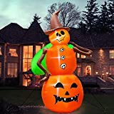 Halloween Inflatable Witch Pumpkin, 8FT Halloween Outdoor Decorations Inflatable LED Lights Tethers Stakes, Blow Up Ghost Yard Decorations Scary Jumbo Model Air Blow for Outdoor Yard Lawn Garden Party