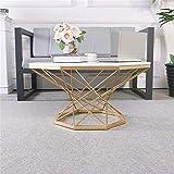 KUKU-mesas de centro Mesa de Centro Octagonal de mármol Blanco, Bandeja Decorativa Dorada de Hierro Forjado, Adecuada para Sala de Estar pequeña, Disponible en Dos tamaños