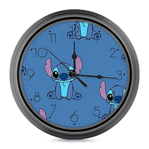 Reloj de pared de estilo europeo de Lilo Stitch, silencioso, no se hace tictac, fácil de leer, para sala de estar, oficina, aula, escuela, decoración de pared de 9.6 pulgadas