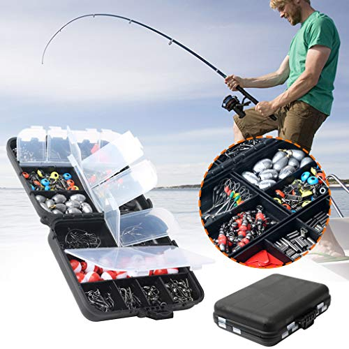 Ketuan 263PCS Fish Tackle Box Fishing Accessories Case - Fish Hook Bait Parts Kit Set - Fishing Tools Kit Fishing Lures Hook with Jig Hooks Bullet Bass Casting Sinker Weights Fishing (Multicolor)