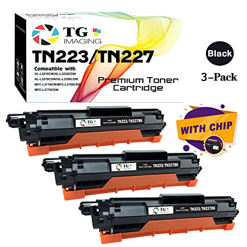 (Black, 3-Pack) TG Imaging Compatible Toner Replacement for Brother TN-223 TN-227 TN227 (New Chip, High Page Yield) -  TN227BK