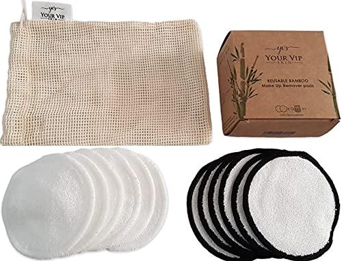 YOUR VIP SKIN - 12 discos desmaquillantes orgánicos reutilizables, lavables, ecológicas, de algodón de bambú natural, redondas, para todo tipo de piel, con bolsa de lavandería de algodón