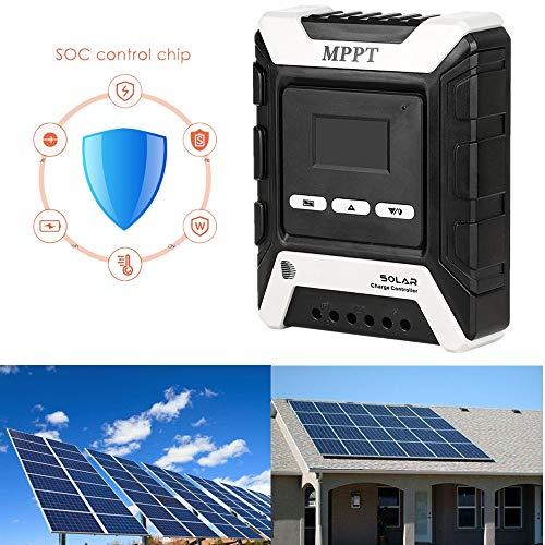 InLoveArts MPPT Controlador de carga solar controlador de carga solar, plástico 12V-72V controlador de carga solar MPPT 30A panel de batería solar del regulador de doble pantalla LCD USB