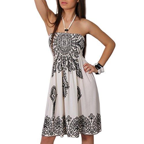 Neckholder Sommer Bandeau Kleid Holz-Perlen Damen Strandkleid Tuchkleid Tuch Aztec (29 Weiss)