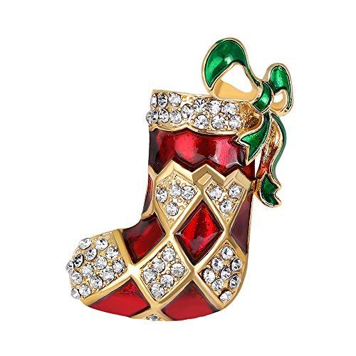 YAZILIND Rhinestone Christmas Stocking Brooch Pins Xmas Breastpin Corsage Women Girls Jewellery Gift