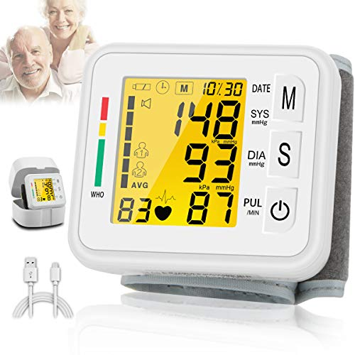 Topffy Blood Pressure Monitor,Wrist Blood Pressure Cuff Monitor Digital BP Cuff Automatic Large Backlight Wrist Blood Pressure Monitor Rechargeable Pulse Rate Monitoring Meter BP Machine for Home Use