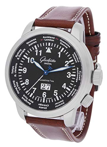 Glashütte Original Herren-Armbanduhr Senator Navigator WorldView Großdatum Analog Automatik 39-47-07-07-04