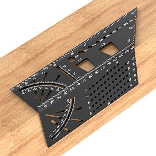 H HOMEWINS 3D Gehrungswinkel Aluminiumlegierung Multifunktion Messwerkzeug mit Bohrpositionierung Holzbearbeitung Markierung Schwalbenschwanz Winkelmaß Professionell Messgerät für Ingenieure Tischler