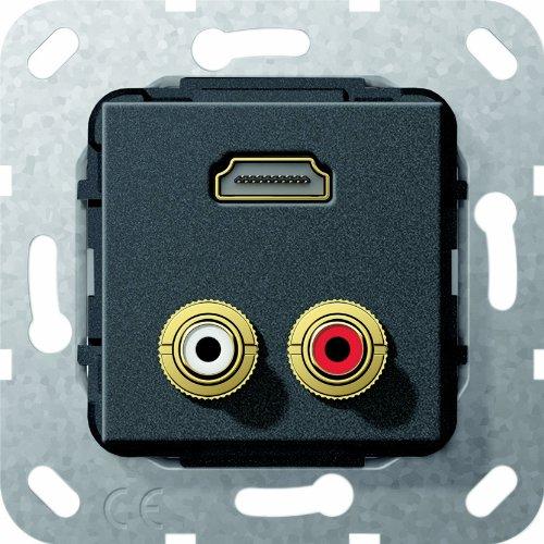 Gira 567310 HDMI Cinch Audio Gender Changer Einsatz, schwarz matt