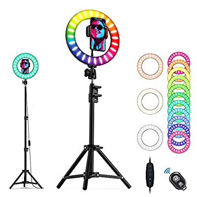 Amazon - Save 75%: Ring Light 10″ RGB Selfie LED Suzzam Ringlight with Remote,Tripod Stand,Cell…