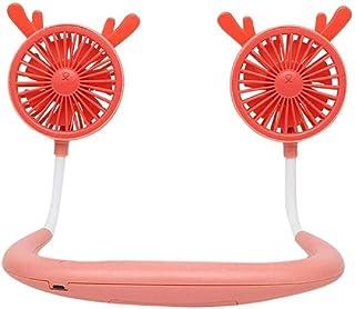 VJGOAL Portátil Deportes al Aire Libre USB Luz LED Recargable Banda para el Cuello Cuello Estilo Colgante Doble Ventilador