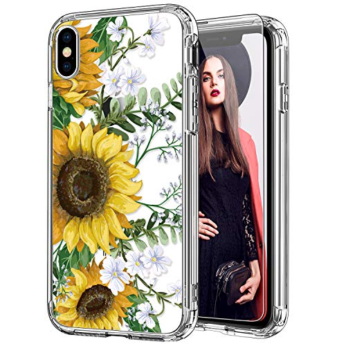 ICEDIO iPhone X Case with Screen Protector,iPhone Xs Case Clear with Fashionable Designs for Girls Women,Slim Fit TPU…