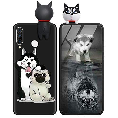 KAPUCTW Capa para Huawei P20 Pro - Linda capa de celular 3D divertida de silicone TPU macio P20Pro para crianças e meninos, à prova de choque, fina, preta, para cachorro