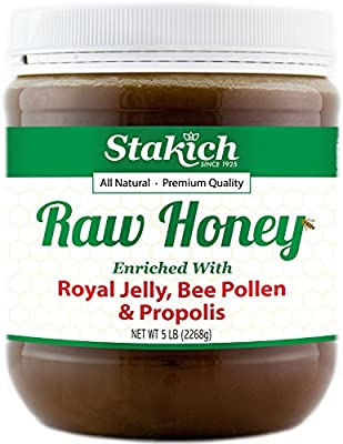 Stakich Royal Jelly, Bee Pollen, Propolis Enriched Raw Honey - Pure, Unprocessed, Unheated - 5 Pound (80 Ounce)