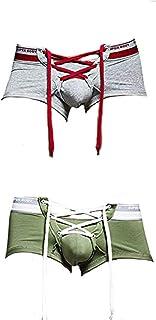 sandbank Men's Sexy Lingerie Cotton Tie Rope Cute Boxer Brief Underwear Panties